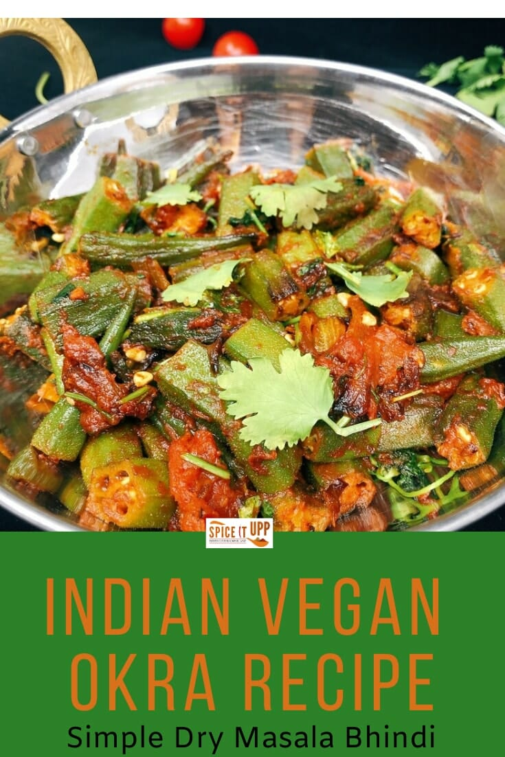 pinterest image for masala bhindi recipe